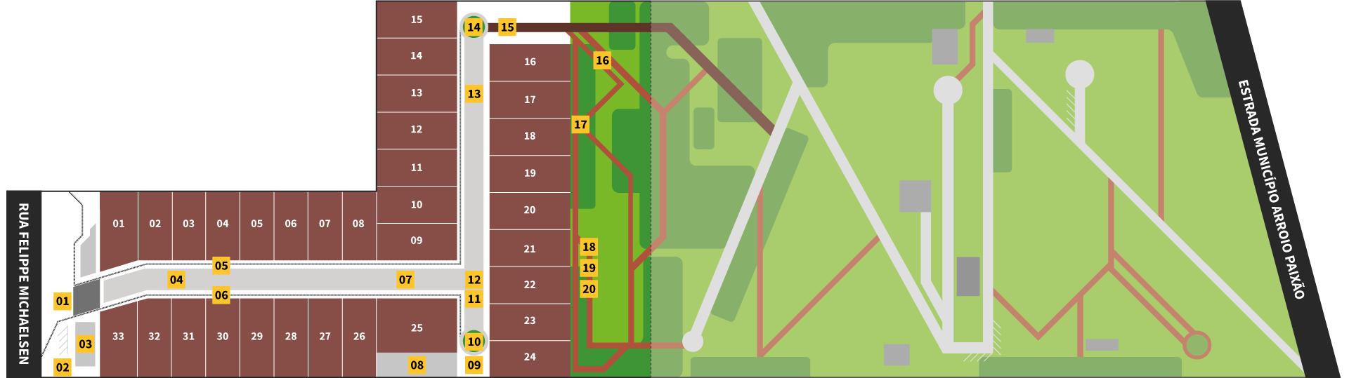 Implantação Urbana dos Lotes e Terrenos do Condomínio Blumen Haus em Nova Petrópolis na Serra Gaúcha